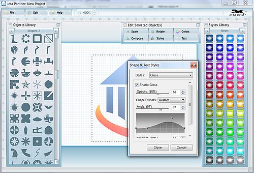 Jeta Screenshot: Styles Edit Window