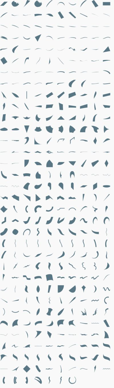 Vector swooshes, asymmetric shapes